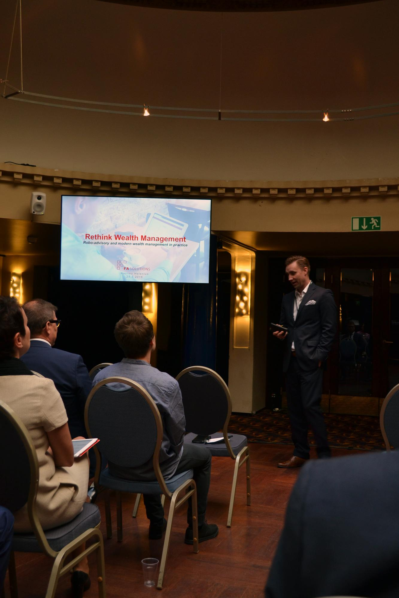 Hannes Helenius from FA Solutions presenting in Money16 event. © Anni Salo